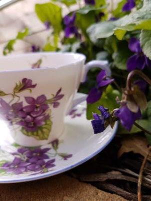 Violets, tea cup, Earl Grey Editing